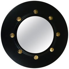 Round Convex Brass Mirror in the style of Piero Fornasetti, Italy, 1960s