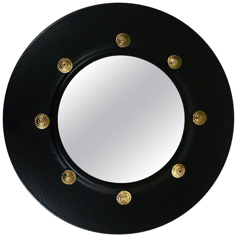 Round Convex Brass Mirror in the style of Piero Fornasetti, Italy, 1960s For Sale