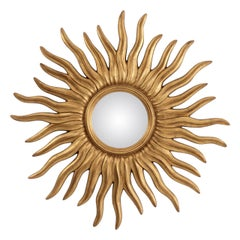 Round Convex Mirror with Sunburst Frame