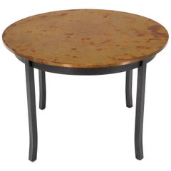 Round Copper Top Black Metal Base Dining Table