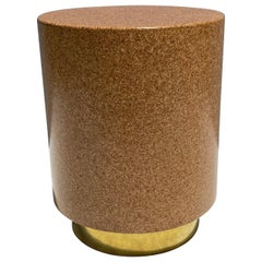 Round Cork and Brass Side Table / Stool