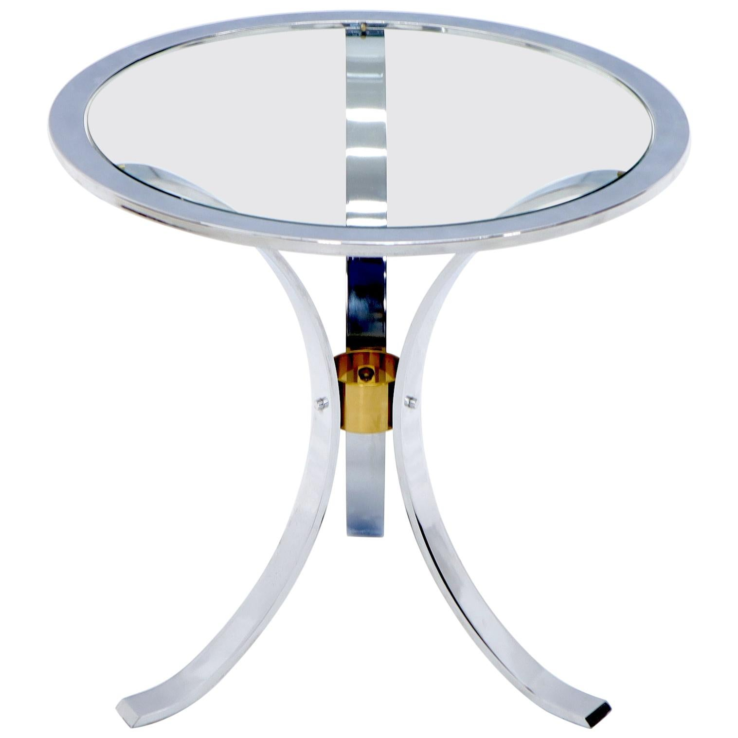Round Crome and Brass Glass Top Occasional Side Table