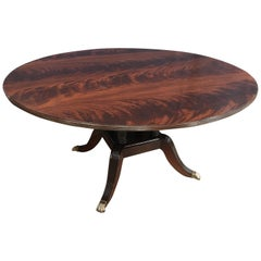 Round Crotch Mahogany Georgian Style Pedestal Dining Table by Leighton Hall