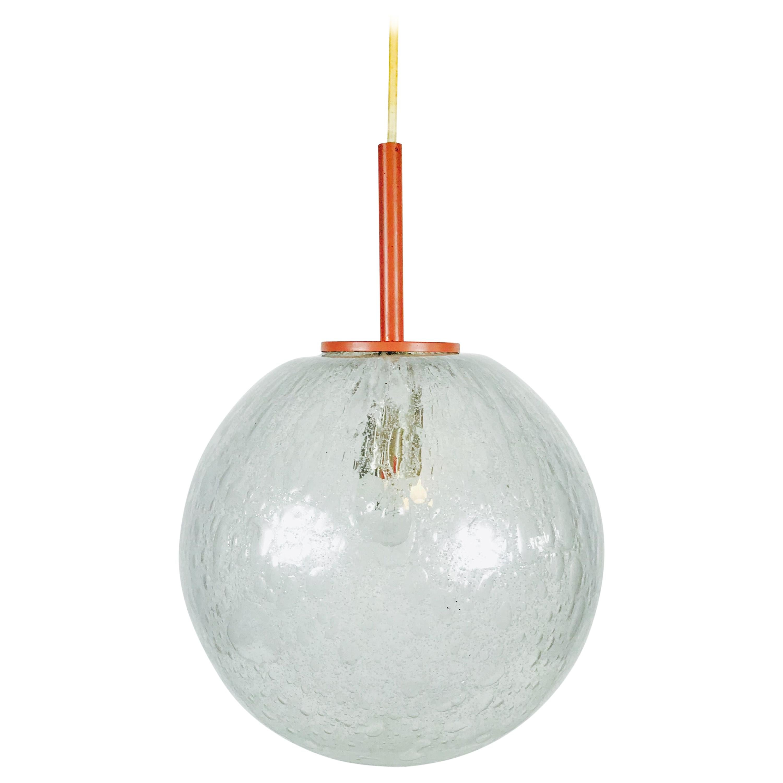 Round Crystal Ice Glass Bowl by Doria, 1970s, Germany