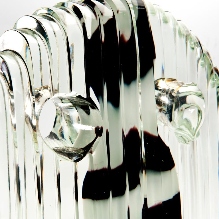 Blown Glass  Round Crystal Mask with Black and White Nose - Inspired by African dancing mask For Sale