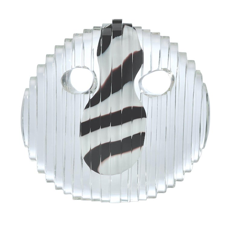 Round Crystal Mask with Black and White Nose - Inspired by African dancing mask For Sale
