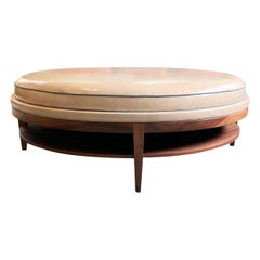 Round Cushioned Top Coffee Table with Storage