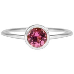 Round Cut 0.45 Carat Pink Tourmaline 18 Karat White Gold Solitaire Ring
