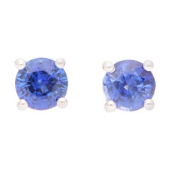 Round Cut 0.66ct Blue Sapphire Stud Earrings Set in 18k Yellow and White Gold