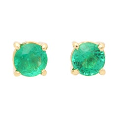 Round Cut 1.15ct Green Emerald Stud Earrings Set in 18k Yellow Gold