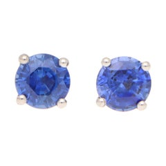Round Cut 1.25ct Blue Sapphire Stud Earrings Set in 18k Yellow and White Gold