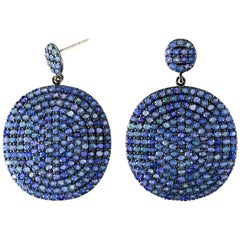 Round Cut Blue Sapphire Dangle Earrings 18 Karat White Gold