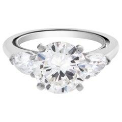 Round Cut GIA Certified 1.85 Carat Diamond Eye Clean Natural Platinum Ring