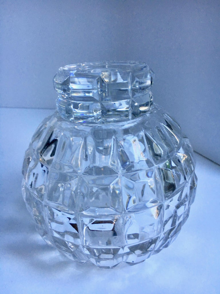 Mid-Century Modern Round Cut Crystal Decanter For Sale
