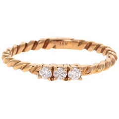 Round Cut Diamond 18 Karat Rose Gold Band