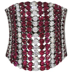 Round Cut Diamond and Ruby Wide Striped Band