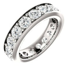 Round Cut Diamond Platinum Eternity Band Anniversary Ring Channel Set