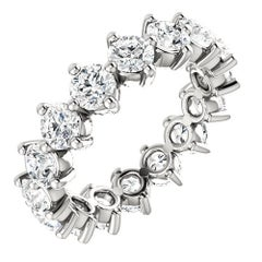 Round Cut Diamond Platinum Eternity Band Prong Set