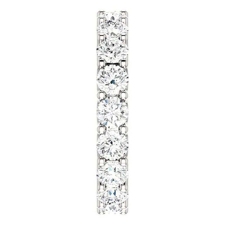 Women's Round Cut Diamond Platinum Eternity Band U Prong For Sale