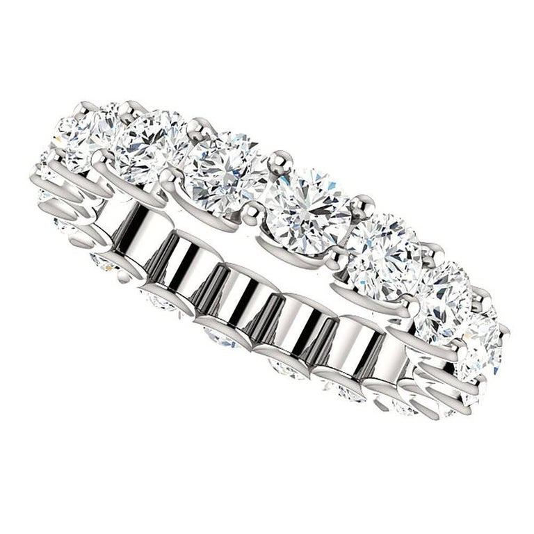 Round Cut Diamond Platinum Eternity Band U Prong For Sale 1