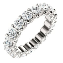 Round Cut Diamond Platinum Eternity Band U Prong