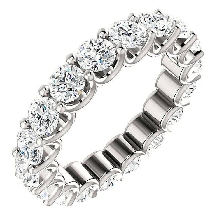 Round Cut Diamond Platinum Eternity Band U Prong For Sale