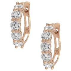 Round Cut Diamond Small Hoops