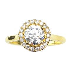 Round Cut Diamond Yellow Gold Engagement Ring with Halo and Basket Setting