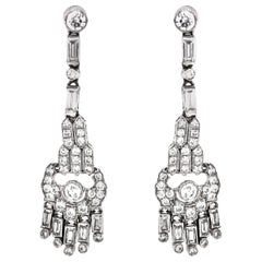 Round Cut Diamonds 5.32 Carat Platinum Drop Earrings