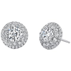 Round Cut Double Halo Diamond Earrings Platinum 950