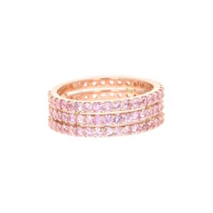 Round Cut Pink Sapphire Band 14 Karat Rose Gold