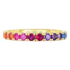 Round Cut Rainbow Gemstone Eternity Band, Gold, Ben Dannie