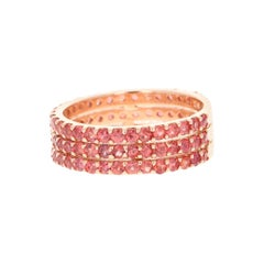 Round Cut Red Sapphire Band 14 Karat Rose Gold