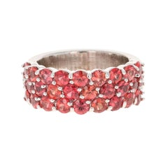 Round Cut Red Sapphire Band 14 Karat White Gold