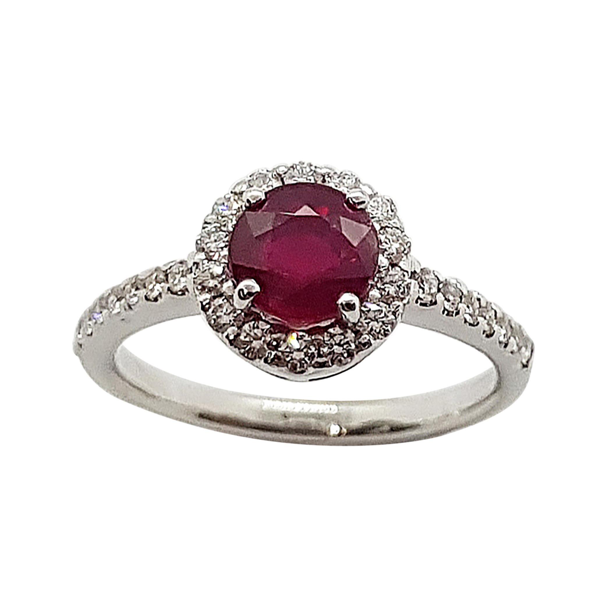 Round Cut Ruby with Diamond Ring Set in 18 Karat White Gold Setting