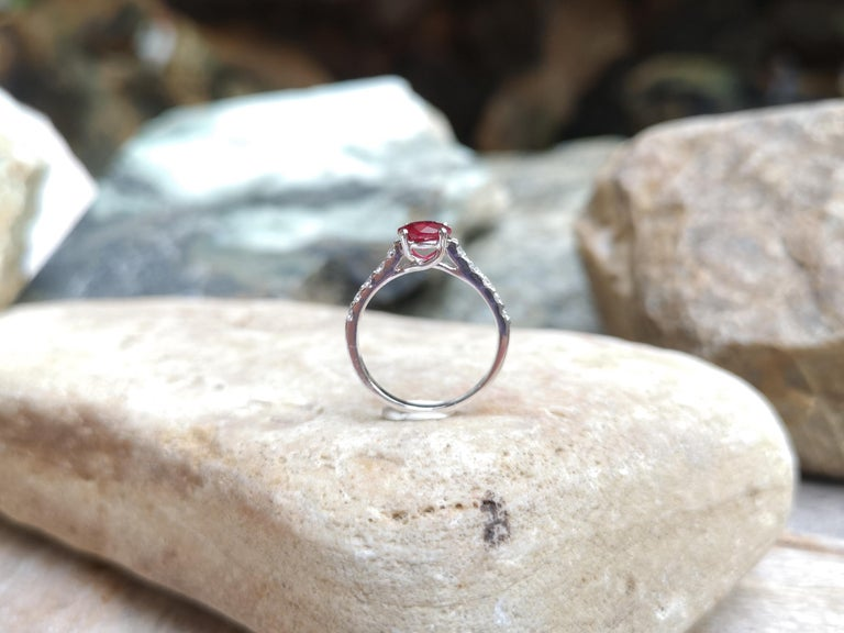 Round-cut ruby with Diamond Ring Set in 18 Karat White Gold Settings For Sale 4