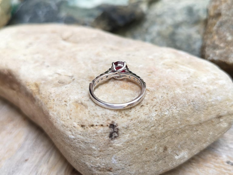 Round-cut ruby with Diamond Ring Set in 18 Karat White Gold Settings For Sale 6