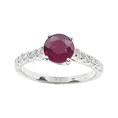 Round-cut ruby with Diamond Ring Set in 18 Karat White Gold Settings