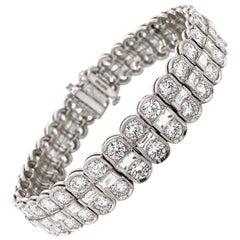Round Cut White Diamonds 18.09 Carat Platinum Link Tennis Bracelet