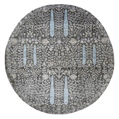 Round Cypress Tree Design Silk with Textured Wool Hand Knotted Oriental Rug