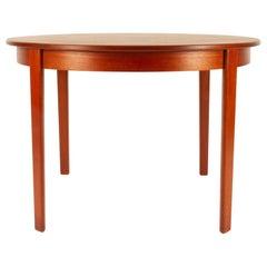 Round Danish Extendable Teak Dining Table, 1960s