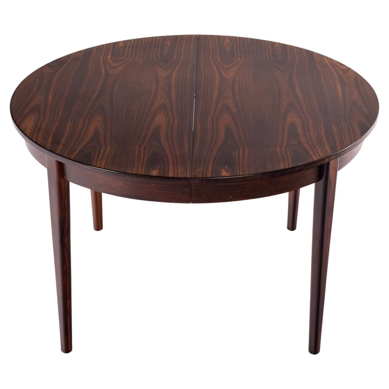 Round Danish Rosewood Extendable Dining Table, 1960s