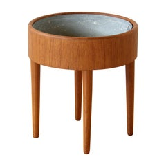 Round Danish Teak Planter by Vinde Mobelfabrik with Galvanized Metal Liner