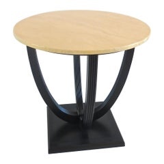 Round Deco Coffee Table Black Laquered from Excelsior Hotel Gallia, 1932