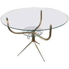 Round Deco Coffee Table in Brass, Italy, 1940s