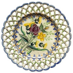 Round Decorative Ceramic Maroon Blue and Yellow Floral Motif Dish, Portugal