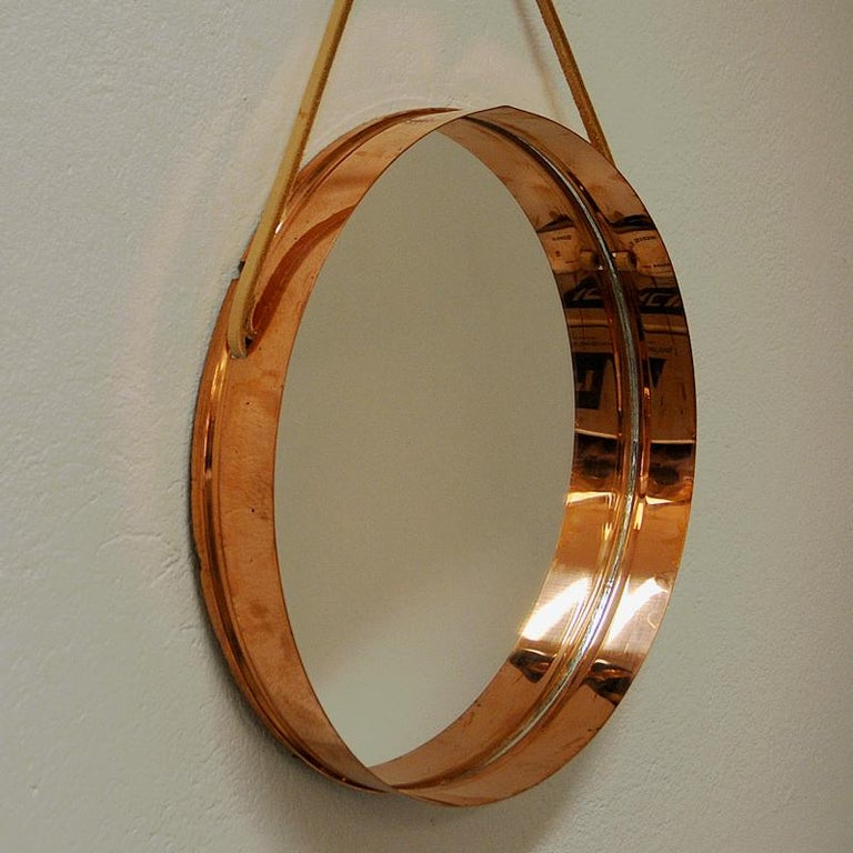 Round Decorative Mirror with Copper Frame, Scandinavian ...