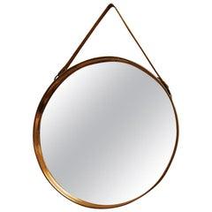 Round Decorative Mirror with Copper Frame 38 CmD - Scandinavian