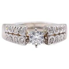 Round Diamond 0.59 Carat Engagement Ring 14 Karat White Gold