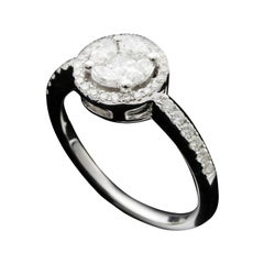 Round Diamond 1 Carat Illusion Bridal Ring in 18 Karat Gold